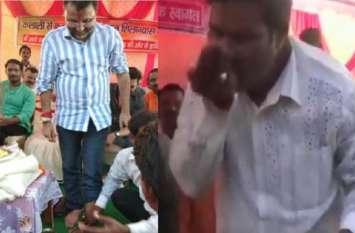 भाजपा सांसद निशिकांत दुबे का पैर धोकर पानी पीने वाले व्यक्ति ने 10 बड़े पत्रकारों के खिलाफ दर्ज कराई शिकायत