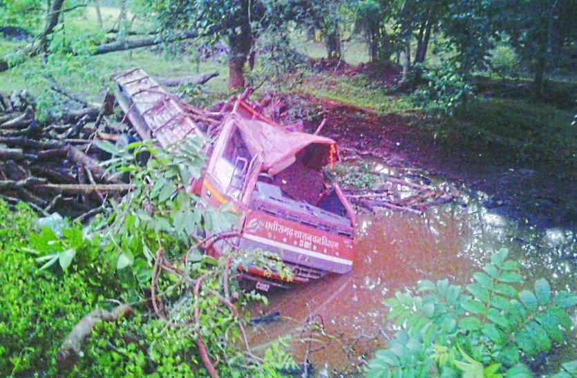 साइड देने के चक्कर में लकड़ी से भरी मेटाडोर पेड़ से टकराई, वन विभाग के चौकीदार की मौत, चार कर्मचारी घायल हो गए