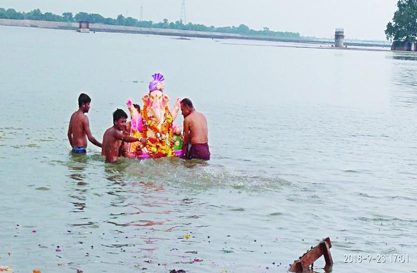गणपति बप्पा के जयकारों से गूंजा शहर, गाजे बाजे साथ भगवान गणेश प्रतिमाओं का हुआ विसर्जन