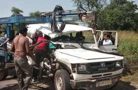 VIDEO: क्रूजर-ट्रैक्टर भिड़ंत में तीन जनों की मौत