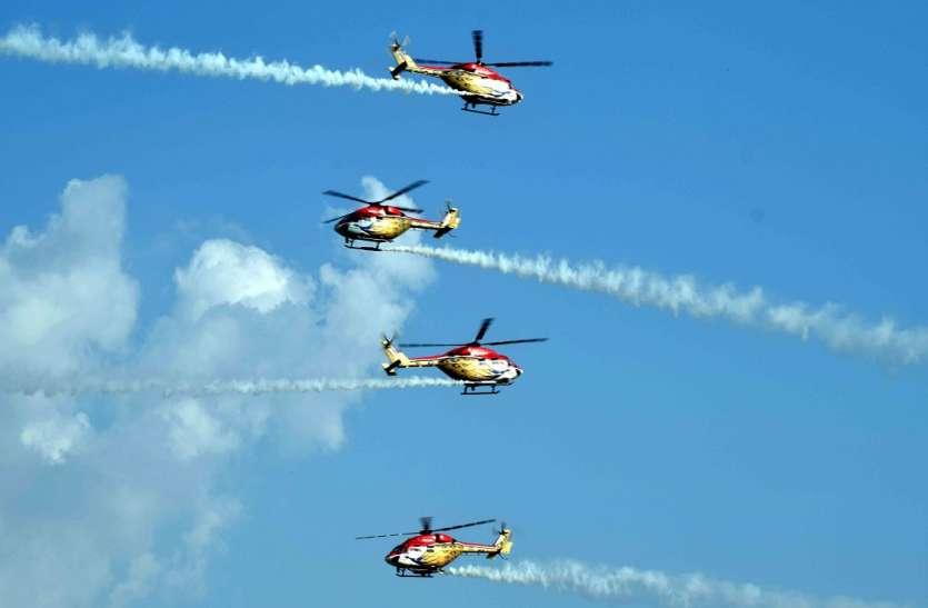 संगम नगरी के आसमान में सूर्यकिरण एयरोबेटिक्स और सारंग हेलीकॉप्टर ने दिखाया करतब