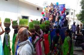 शोभायात्रा निकालकर जोत, जवारा और देवी प्रतिमाओं को किया विदा