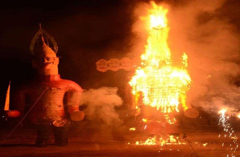 जालोर में ऐसे जले रावण और मेघनाद के पुतले