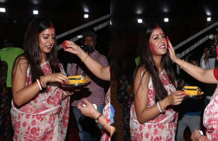 ishita dutta first sindoor khela ceremony latest photos