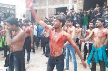 शिया समुदाय ने मनाया शोहदा ए कर्बला का चहल्लुम , मातमी धूनों व रक्तरंजित मंजर का दिखा नजारा