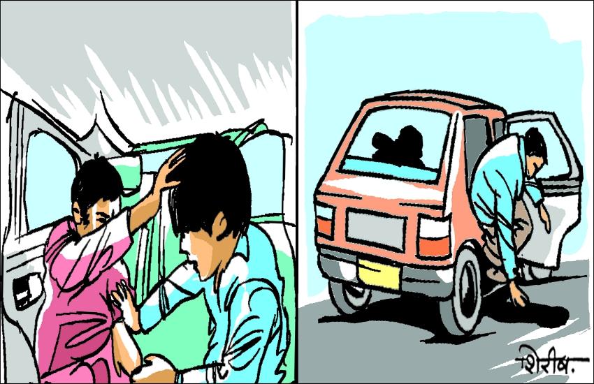 पूर्व सचिव की बेटी के साथ कार सवार युवक ने कारोबारियों के दो बेटों को पीटा, एक युवक जान बचाने चलती कार से कूदा