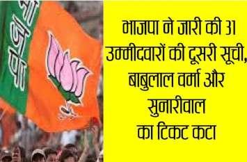 भाजपा ने जारी की दूसरी लिस्ट...कैबिनेट मंत्री बाबुलाल वर्मा का टिकट कटा, चन्द्रकांता को मिला मौका