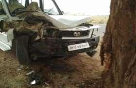 पेड़ से टकराई पुलिस की गाड़ी, सीओ सहित तीन घायल