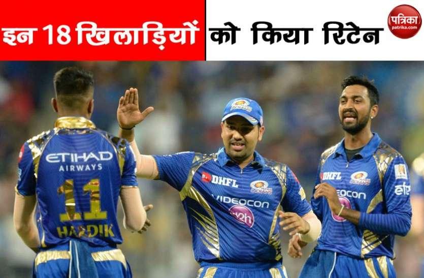 IPL 2019 :  मुंबई इंडियंस ने किए ये बड़े बदलाव, इन 10 खिलाड़ियों को दिखाया बाहर का रास्ता