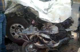 तेज रफ्तार में रॉन्ग साइड आई कार, स्कूटी को घसीटते हुए ट्रक में घुसी, दम्पती की मौत, तीन घायल