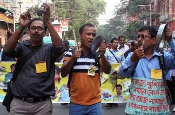 पारश्र्व शिक्षकों पर लाठीचार्ज, कई घायल, 83 गिरफ्तार