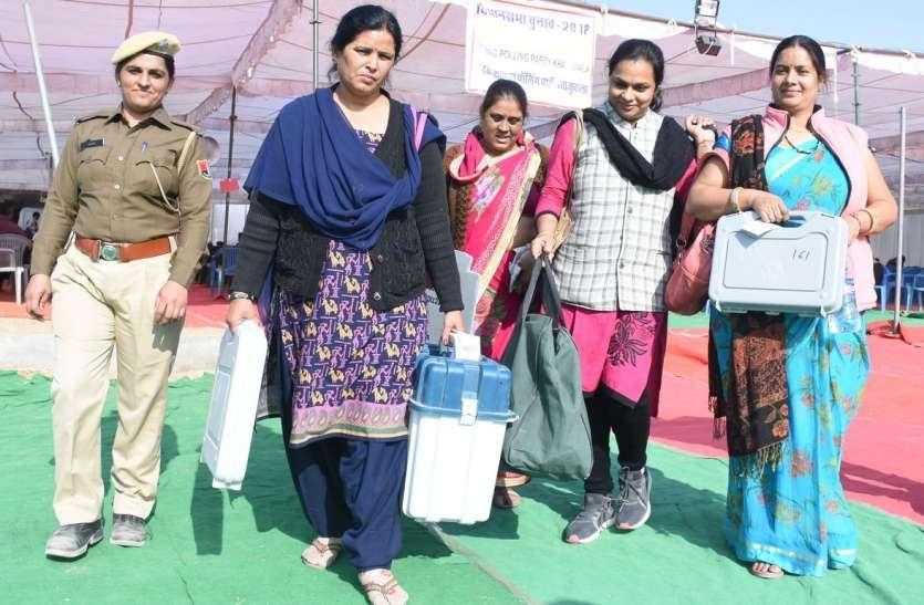 VIDEO : महिला प्रबंधित मतदान केन्द्र के लिए रवाना हुई महिला कार्मिक