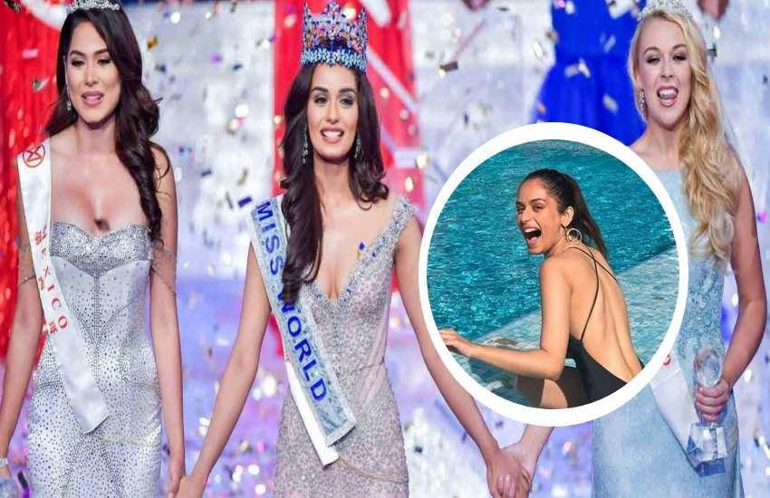 manushi chhillar black hot bikini photos viral