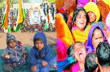 शहीद किशन सिंह राजपूत के दो मासूम बेटे, बिलखती मां और बेसुध पत्नी को देख कोई नहीं रोक सका आंसू