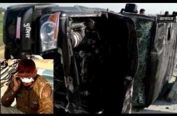 तेज रफ्तार कैंटर ने पुलिस की गाड़ी को मारी टक्कर, दरोगा समेत पुलिसवालों का हुआ ये हाल, देखें वीडियो-