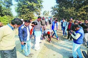 मंत्री यादव ने किया महाराजपुर से सहजपुर केसली सड़क का निरीक्षण
