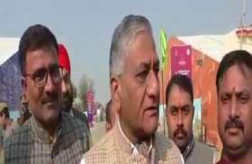 बीजेपी मंत्री वीके सिंह ने लिया प्रवासी सम्मेलन की तैयारियों का जायजा, कहा 18 तक तैयार हो जायेगी टेंट सिटी