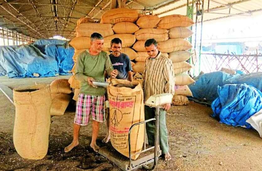मंडी में अधिक फसल तौल किसानों को लगा रहे चपत