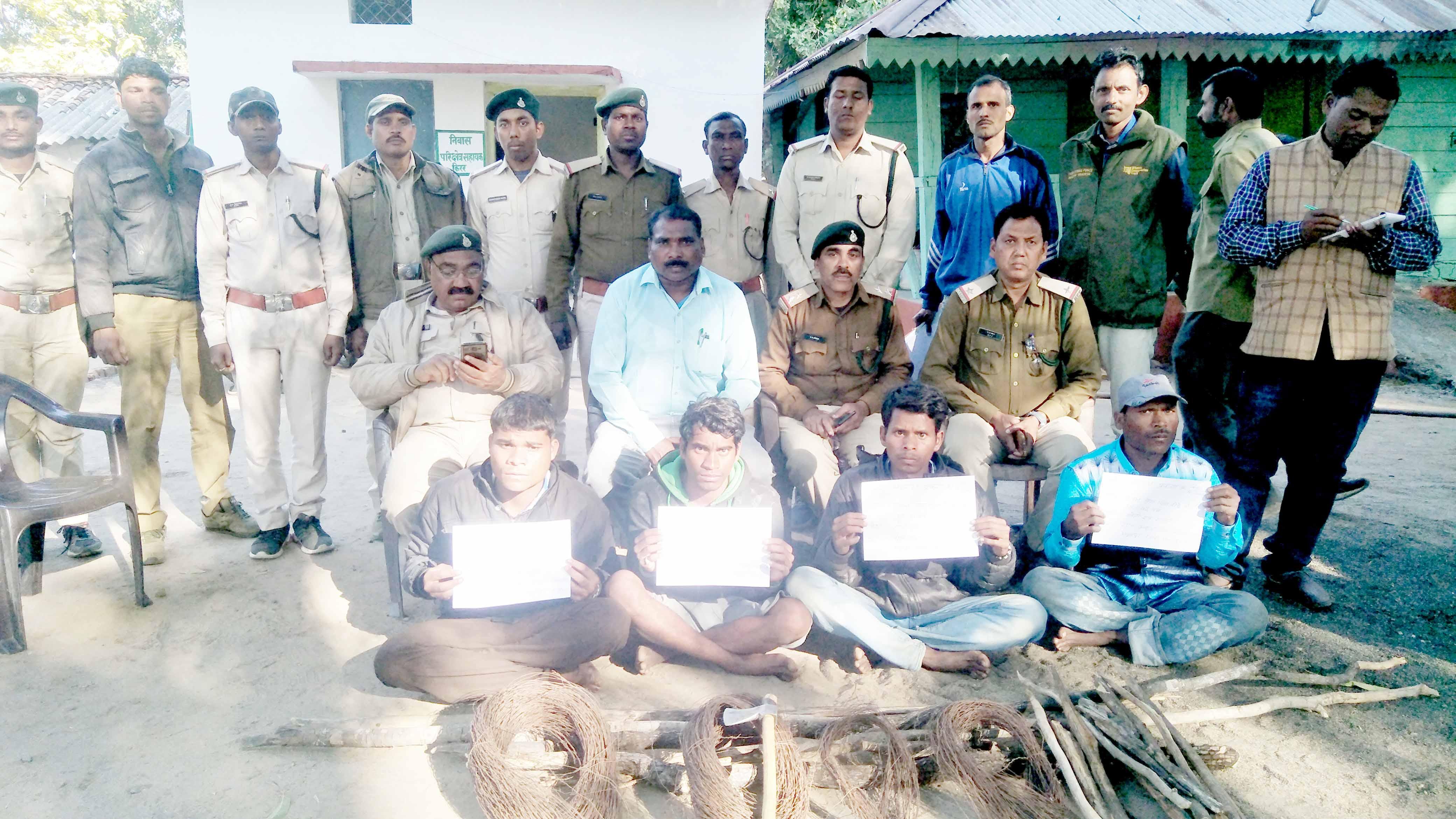 शिकारियों ने 11 केवी क्षमता वाली बिछाया करंट चपेट में आकर तेंदुआ की मौत, 4 शिकारी गिरफ्तार