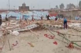 मेला राम नगरिया में आंधी ने मचाया उत्पात, गिरे पांडाल- लाखों का हुआ नुकसान