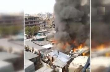 Video: गुरुग्राम के नाथुपुरा में लगी भीषण आग, 200 झुग्गियां जलकर राख