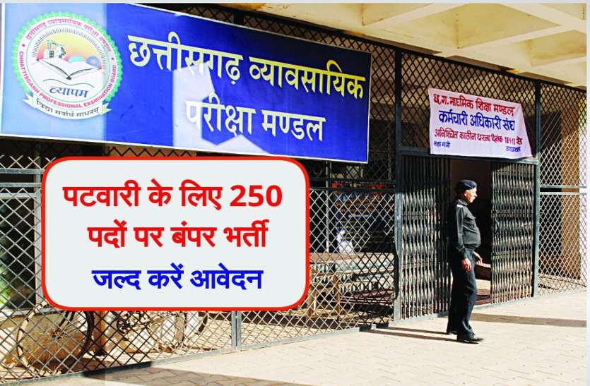 Govt Job: पटवारी के लिए 250 पदों पर बंपर भर्ती, जल्द करें आवेदन, सिर्फ एक दिन शेष
