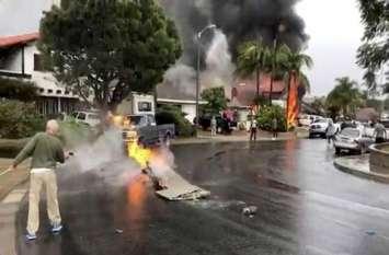 आवासीय बस्ती पर गिरा विमान, 5 लोगों की मौत