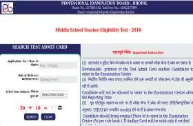 MP TET Admit Card 2018 जारी, एक ही क्लिक में यहां से करें डाउनलोड