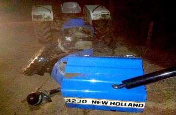 ट्रैक्टर-जीप टकराए, तीन हिस्सों में टूटा टै्रक्टर और तीन लोग गंभीर घायल