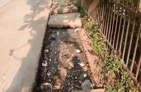 VIDEO: साफ सफाई का दावा ! शहर के मुख्य मार्ग पर सिम्स के सामने कचरे मलबे से भरे हैं नाले नालियां