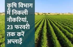कृषि विभाग में निकली नौकरियां, 23 फरवरी तक करें अप्लाईे