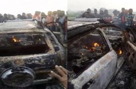 Agra Lucknow Expressway पर कार में लगी आग, कार सवार की जलकर हुई मौत
