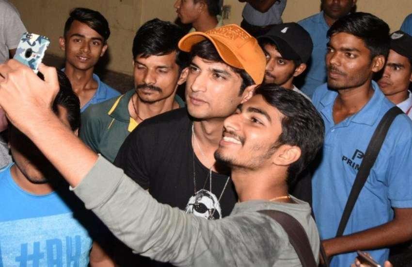Sushant singh rajput sonchiriya film promotion with fans photos