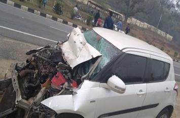 ट्रक-कार के बीच टक्कर में दो की मौत, एक की हालत गंभीर
