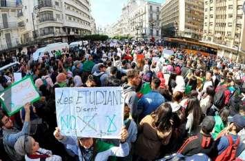 अल्जीरियाई राष्ट्रपति अब्देलअजीज बुटफ्लिका के खिलाफ छात्रों का उग्र प्रदर्शन, सभी विश्वविद्यालय बंद