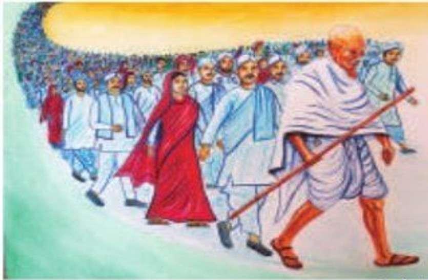 गांधी और कस्तूरबा के संघर्ष को रंगों के माध्यम से समझाया