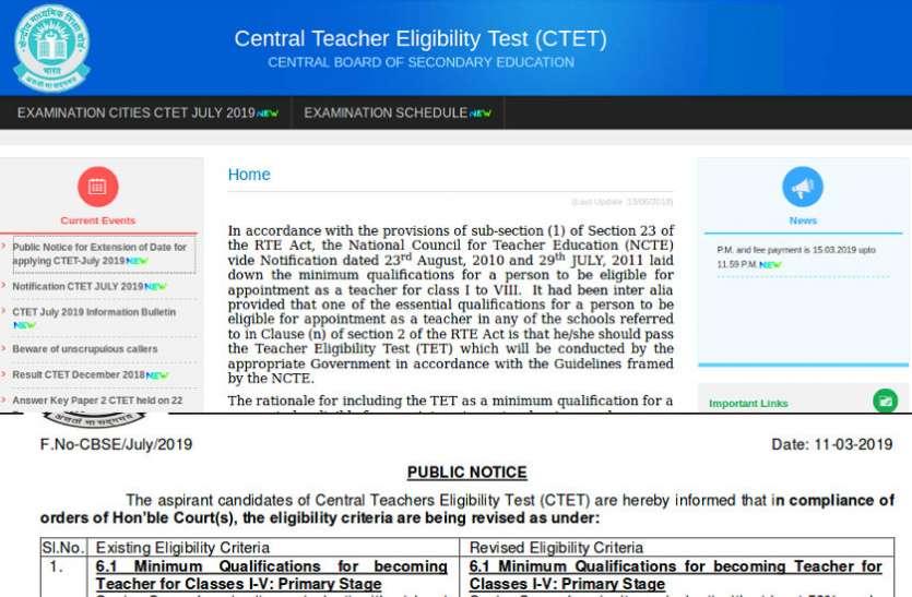 CTET July 2019 आवेदन की अंतिम तिथि बढ़ी, अब 14 मार्च तक कर सकेंगे आवेदन : यहां पढ़ें