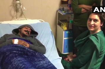 भीम आर्मी प्रमुख चंद्रशेखर से मिलने अस्पताल पहुंची प्रियंका, बोलीं- योगी सरकार अहंकारी हो गई है