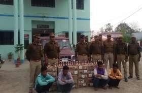 30 पेटी अवैध शराब बरामद, चार गिरफ्तार