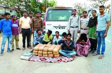 लोकसभा चुनाव की चेकिंग के दौरान पुलिस ने स्कॉर्पियो जब्त किया 60 किलो गांजा, 6 गिरफ्तार