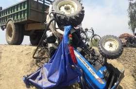 तेज रफ्तार ट्रक ने गाड़ी को मारी जोरदार टक्कर, चालक घायल