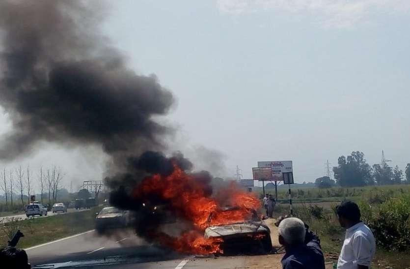 Breaking दिल्ली-देहरादून हाईवे पर खताैली के पास चलती कार में लगी आग, लपटे देख सहम गए लाेग
