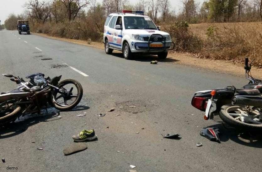 दो बाइक की आपस में हुई टक्कर में एक युवक की हुई मौत, पटवारी घायल