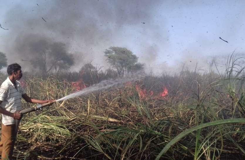 40-50 एकड़ की गन्ना जलकर खाक किसानों को लाखों रुपए का नुकसान