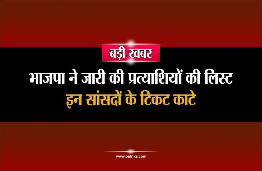 बड़ी खबरः भाजपा ने जारी की प्रत्याशियों की लिस्ट, वर्तमान सांसदों के टिकट कांटे