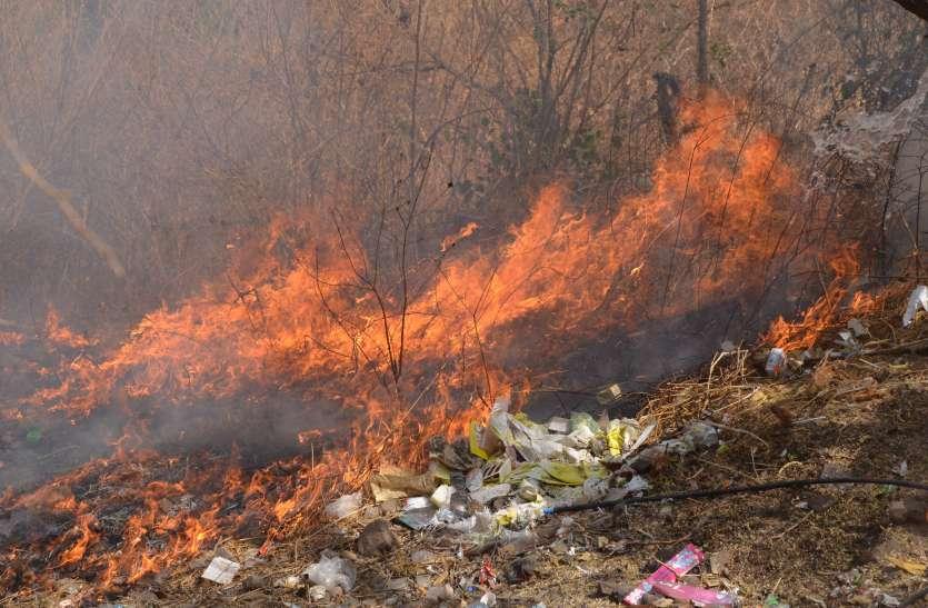 VIDEO : माता टेकरी की झाडिय़ों में लगी आग...दमकल पहुंची तो टंकियों में नहीं मिला पानी...मशक्कत कर बुझाई आग