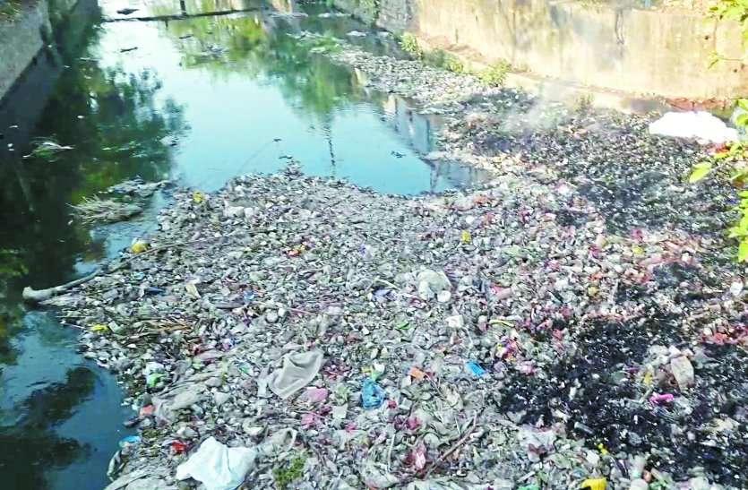 नाले में 'कचरे की चादर', देखें वीडियो