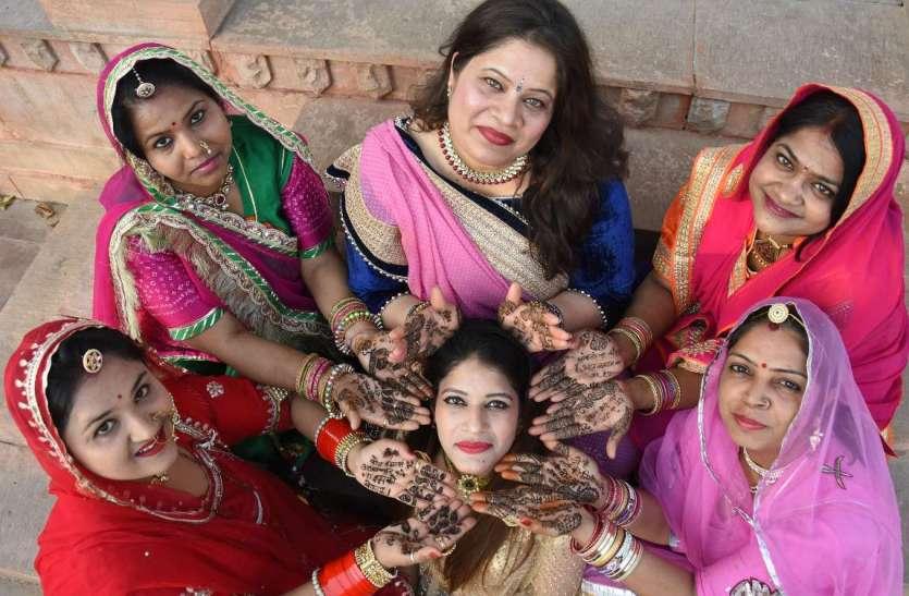 गणगौर पर हथेलियों पर हिना से सजे और रचे अनूठे संदेश , देखें तस्वीरें...
