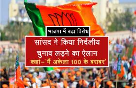 भाजपा में बढ़ा विरोध, सांसद ने किया निर्दलीय चुनाव लड़ने का ऐलान, कहां-'मैं अकेला 100 के बराबर'