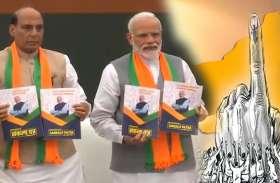 भाजपा का घोषणा पत्र जारी, किसानों-दुकानदारों को मिलेगी पेंशन, सभी किसानों को 6000 देने का वादा